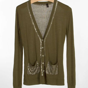 BKE Boutique Green sequin button down cardigan